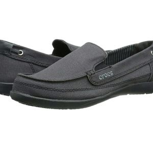 Crocs Walu Canvas Loafers Black/Black Size 10